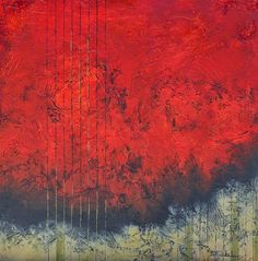 """Large abstract contemporary painting, textured art by California artist Nancy Eckels - """"Pinstripes and Red"""", modern art"""