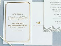 Art deco save the date in gold foil  www.hobartandhaven.com