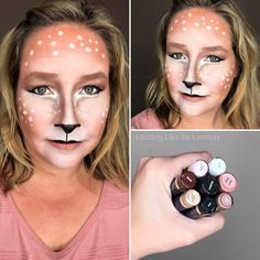 This entire Halloween makeup look of a deer was done with smudge proof, waterproof SeneGence products!! I used Garnet, Sandstone Pearl Shimmer, Snow and Onyx on my eye as eyeshadow. Blackberry LipSense and First Love LipSense on my lips. Bronze BlushSense and Bronze translucid powder on my face and Whisper Pink ShadowSense for the spots. www.lastinglipsbylindsay.com | @lastinglips_by_lindsay Instagram | LipSense distributor | Halloween makeup | Deer Halloween Look | Costume Makeup | Bella |