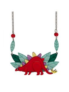 New from Erstwilder's Dinosaur collection.  'I'm a pacifist and strict vegetarian but if you disturb me whist I'm eating I just might have to introduce you to my spikes.'  This super stegosaurus necklace measures 4.5cm x 13.5cm and comes on a 42cm silver plated chain with a dangling