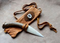 Tine: Bone and antler ritual knife by Lupa. At http://thegreenwolf.etsy.com