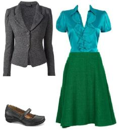 Business Casual Starter Kit Day 11: Gray blazer, turquoise or teal blouse (prefer less shiny for work), green skirt, black shoes.