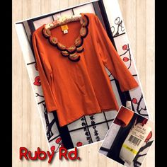 Ruby Rd. Orange Embellished Retro Style Top Such a cool shirt. New with tags. Orange with embellishments on front.  Please ask all questions serious buyers only. Save the most by bundling I offer 20% off on bundles of just 2 or more Ruby Rd Tops Tees - Long Sleeve