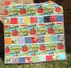 Farm Quilt Baby Boy Blanket Tractor Oink a by SunnysideDesigns2, $159.00