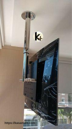 Suporte giratório de TV para fixação no teto, com regulagem de altura, em inox ou alumínio. Enviamos para todo o Brasil.
