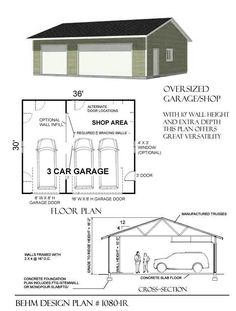 3 Cars Basic One Story Garage Plans By Behm Design D.no Ready to… - Garage shop The Plan, How To Plan, Ajout D'un Garage, 3 Car Garage Plans, Garage Blueprints, Interior Ikea, Garage Interior, Interior Design, Design Garage