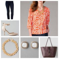 Caravel Printed Blouse, Harper Ultra Skinny Jean in Blue Black Indigo, Hawthorne Patent Pump, Topanga Braided Necklace, Kent Ostrich Reversible Tote, and Carrolton Square Studs