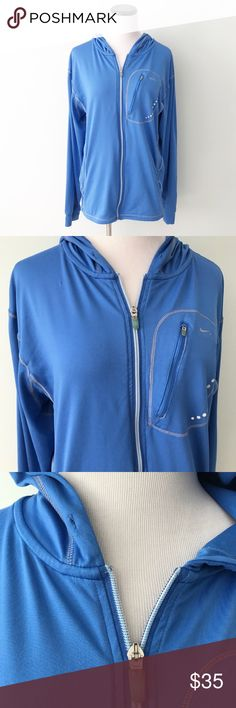 NIKE Fit Dry blue zip hooded Gym Jacket Nike blue Fit Dry full zip up Jacket with a hood. Strings in hood are missing. Size large. Nike Jackets & Coats