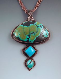 Triple Turquoise Bright Blue Green Beauty Hammered by RedPaw