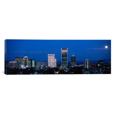 "East Urban Home Panoramic Portland, Oregon, Moon, Night Photographic Print on Canvas Size: 30"" H x 90"" W x 1.5"" D"