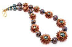 Double Pinwheel Beaded Bead Necklace by Cindy Holsclaw
