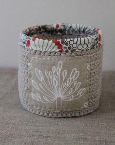 crochet basket. love the fabric lining