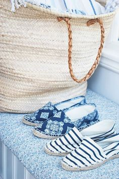 "Summer blues: natural shade of basket with slightly darker woven handles and blue & white espadrilles, they just scream, ""Summer!"""
