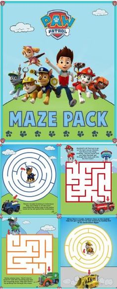 Paw Patrol Maze Pack, featuring a maze for each pup! Great afternoon activity for puppy-loving preschoolers!