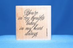 You're in My Thoughts & Heart 1992 Stampin' Up! Wood & Foam Backed Rubber Stamp       http://autopartspuller.com/ Great Sale 50% off entire store!! Copper, Glassware, Wood Crafts, Scrap Booking   Also Find us on:  http://hometownvintage.com http://autopartspuller.com @HomeTownVintage @autopartspuller @preppershowto http://facebook.com/hometownvtg http://facebook.com/AutoPartsPuller
