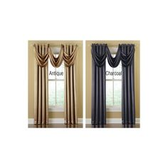 Shimmering Satin Curtain Panel & Valance - Antique, Charcoal from Collections Etc. ($14) found on Polyvore