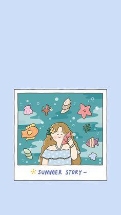 여름이야기 : 네이버 블로그 Wallpaper Iphone Disney, Kawaii Wallpaper, Girl Wallpaper, Tumblr Wallpaper, Korean Illustration, Cute Illustration, Tumblr Backgrounds, Wallpaper Backgrounds, Cute Drawings