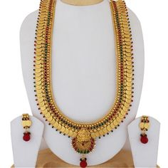 TEMPLE STONE TRADITIONAL LAKSHMI COIN HARAM SET   http://www.sthrielite.in/collections/haram/products/temple-stone-traditional-lakshmi-coin-haram-set-4
