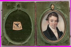 Portrait of a Gentleman 1827. George Catlin / Watercolor on ivory in gold-colored metal beaded bezel locket; hair in reserve on verso