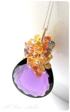 Royal purple Amethyst and Tangerine and Yellow by IlmareAtelier Artisan Jewelry, Handmade Jewelry, Unique Jewelry, Etsy Handmade, Jewelry Art, Jewelry Design, Royal Purple Color, Rhinestone Choker, Sapphire Pendant