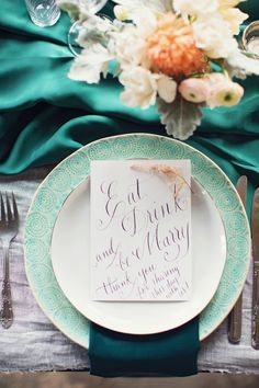 Eat, drink and be marry | Event Design & Florals: Rock Paper Scisscors Events - rpscissors.com | Photography: Peaches And Mint - www.peachesandmint.com  Read More: http://www.stylemepretty.com/2014/05/12/emerald-mint-peach-wedding-inspiration/