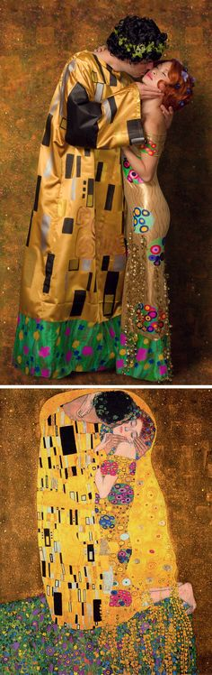 "Happy Halloween! Our recreation of Gustav Klimt's painting ""The Kiss"" - Mai and Bri"