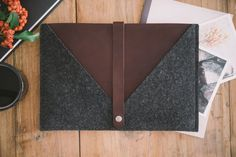 "iPad Air 2 Pouch, iPad Air 2 Case, iPad Air 2 Sleeve, suits iPad Air, ""Rough Edge"", leather, wool felt"