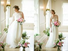 Ombre Bouquet and Lace Gown! Can't be beat!