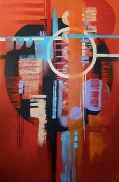 """Dreamcatcher"" by Pavia Justinian Acrylic on canvas 24"" x 36"" 2014"