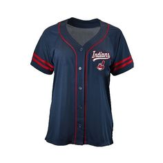 Cleveland Indians Women's Contrast Piping Mesh Team Jersey ($25) ❤ liked on Polyvore featuring activewear, activewear tops, cleveland indians, mesh jersey shirt, cleveland indians jerseys, shirt jersey, athletic shirts and patterned shirts