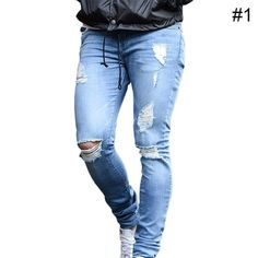 Men's Distress Ripped Denim – Shoppers Lyf Skinny Biker Jeans, Ripped Denim, Denim Jeans, Type Of Pants, Destroyed Jeans, Slim Pants, Stretch Jeans, Trendy Outfits, Menswear