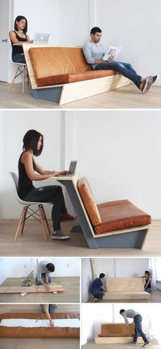 This tutorial for a DIY modern couch teaches you how to create a couch with a wood frame and leather cushions that also doubles as a desk. The post Make This DIY Modern Couch That Also Doubles As A Desk appeared first on Woman Casual. Diy Couch, Diy Furniture Couch, Diy Furniture Plans Wood Projects, Diy Furniture Easy, Refurbished Furniture, Furniture Makeover, Furniture Design, Furniture Ideas, Diy Projects