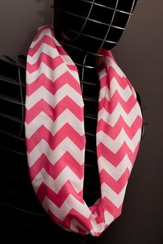 PINK! Perfect for Spring!!  Infinity Scarf  Pink & White Chevron Single Loop by MobiusThreads, $35.00