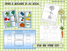 Fruit and Veggie Sort (to go along with Book, Tops and Bottoms by Janet Stevens)