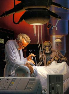 BOOK: Who are the 2 characters in this painting?  Why it's Dr. Cornelius Evazan and Ponda Baba.  Those names may not be familiar to you, but these are the two individuals who hassled Luke Skywalker in the Mos Eisley cantina.  Eventually, Obi-Wan Kenobi stepped in and ended the skirmish by severing Baba's arm.  For the complete back story on Evazan and Baba, be sure to click the picture!