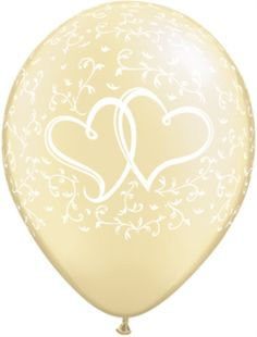 """Pearl Ivory Entwined Hearts 11"""" Latex Balloons 25pk"""
