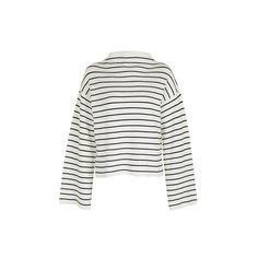 Topshop Wide Sleeve Stripe Jumper (42 CAD) ❤ liked on Polyvore featuring tops, sweaters, jumpers, shirts, white, shirt sweater, funnel neck sweater, white jumper, sleeve shirt and white striped sweater