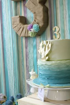 Under the Sea Mermaid Party use fabric for chardboard letters & numbers instead of yarn #underthesea #mermaidparty