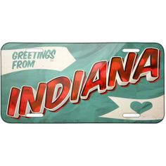 AmazonSmile: Metal License Plate Greetings from Indiana, Vintage Postcard - Neonblond: Automotive