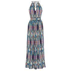 Buy Warehouse Linea Aztec Maxi Dress, Blue/Multi Online at johnlewis.com