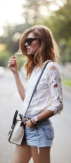 #summer #fashion / Chiara lace + denim