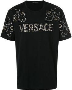 Versace studded T-shirt Shirt Print Design, Tee Shirt Designs, Tee Design, Versace Logo, Versace Men, Versace Hoodie, Stylish Mens Outfits, Classy Men, Branded Shirts