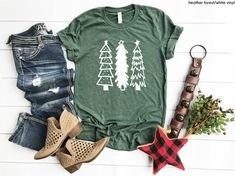 Excited to share the latest addition to my shop: Christmas Shirt - Rustic Christmas Trees Shirt - Winter Shirt - Holiday Shirt - Spirit of Christmas - Tis The Season To Be Jolly - Winter Shirts, Vinyl Shirts, Thing 1, Trends, Colorful Shirts, Shirt Designs, Vinyl Designs, T Shirts For Women, My Style