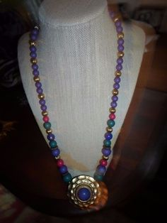 Multicolored Necklace with Large Goldtone and Purple Bead Pendant #Unbranded #Pendant