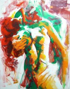 """Lovers (Amor-Fusão)/ Lovers (Love-Fusion)"" Acrilic on canvas. 100 x 70cm (39,3""x27,5""). 2010 © Luis Levy Lima"