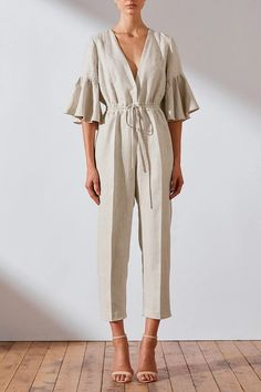 The Savannah Linen Jumpsuit in Natural by Shona Joy. A must-have jumpsuit crafted from natural stone hue pure linen fabrication. Showcasi… in 2020 Look Fashion, Fashion Outfits, Womens Fashion, Fashion Tips, Fashion Trends, Fashion Hacks, Classy Fashion, 70s Fashion, French Fashion