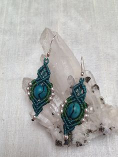 Macrame  earrings turquoise tribal style by ARTofCecilia on Etsy