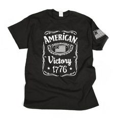 100% Cotton, standard fitting tee from American Victory. Betsy Ross flag graphics featured on front and left sleeve.