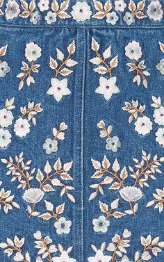 Denim Embroidery High Waist Skirt by NEEDLE & THREAD for Preorder on Moda Operandi