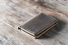 Wallet Leather Wallet Personalized Leather Wallet Front by JooJoobs | Etsy